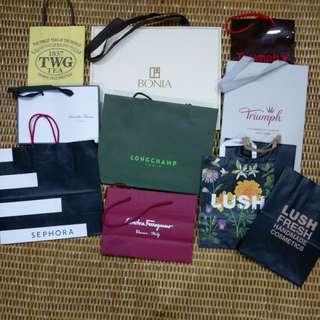 Branded original paper bags #samanthathavasa #salvatoreferragamo #lush #bonia #triumph #twinningstea #OCT10