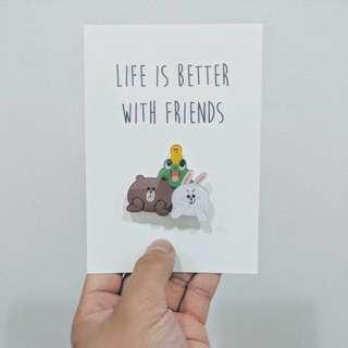 Line Friends Aryclic Pin Greeting Postcard