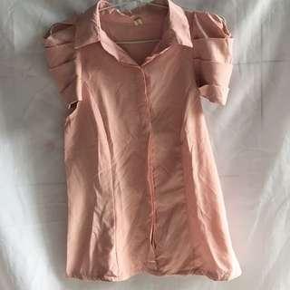 Preloved Blouse Soft Peach Lengan Crop