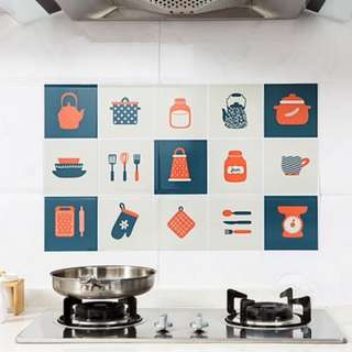 Anti-Oil Stove Kitchen Tiles Sticker (Navy Orange)