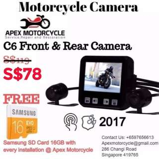 Vsys C6 Motorcycle & Rear Camera For Motorcycles Suitable For All Motorcycles Bikes Latest Version