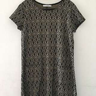 PULL & BEAR Printed Dress with 2 Front Pockets