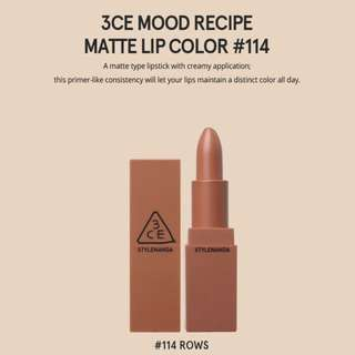 READY STOCKS | Stylenanda 3CE Mood Recipe Matte Lip Color - 114 Rows