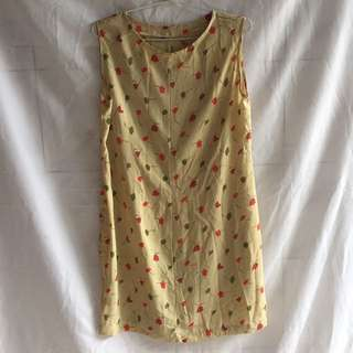 Preloved Mini Dress Flower Soft Brown