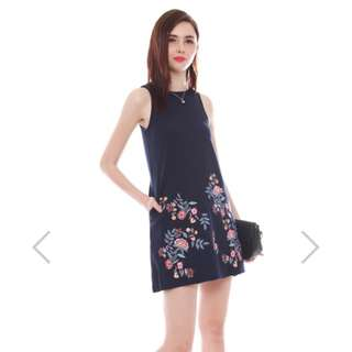 ACW Embroidery Bloom Trapeze Dress in Navy