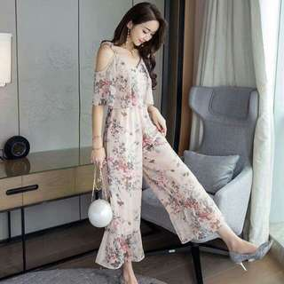 Pink Floral Jumpsuit with Lining