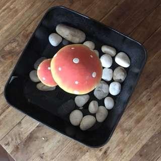 Plant pot, pebbles & 'mushroom'