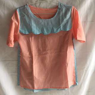 Preloved Blouse Soft Pink Blue