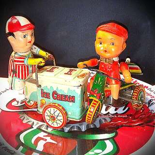 Ice Cream Man & Riding Toddler. Wind-up Tin Toy. $35 For Both.