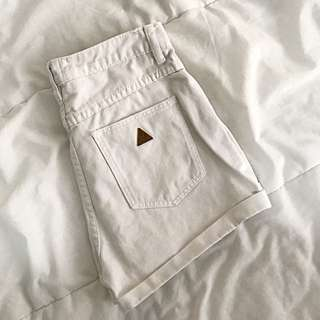 ABRAND White Denim Shorts