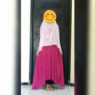 Dress spandek warna pink fanta