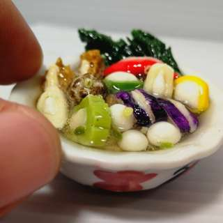 Dollhouse miniature food display : yong tou fu soup