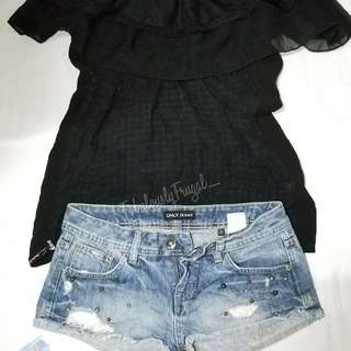 Off Shoulder Plus Denim Short