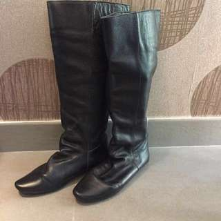 80%NEW Real Leather Long Black Boots 黑色真皮矮踭長靴 #welcomewinter
