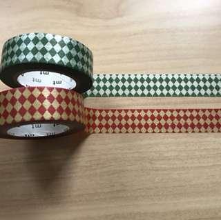 MT tape set 2 colour Rhombus pattern 復古棱形圖樣