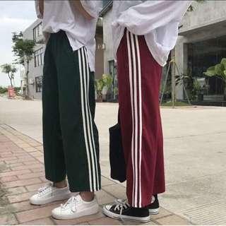 韓國復古高腰寬褲 現貨 綠色/紅色