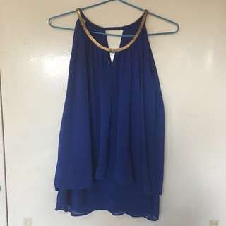 Royal blue flowy party top