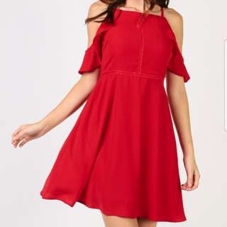 BN Red Cold Shoulder Flare Dress