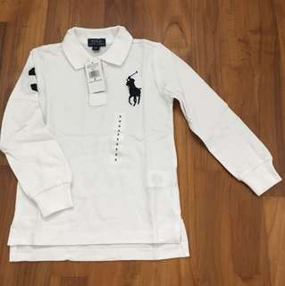 BNWT Ralph Lauren White Long Sleeve Polo 5 years
