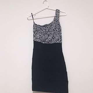 One Shoulder Leopard Print Dress