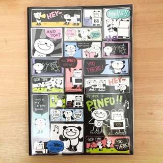 BN Pinfu Cartoon Panda Cute B5 Lined Notebook With Plastic Cover