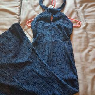 Navy blue long lace dress