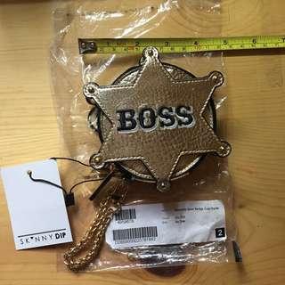 Skinnydip boss badge coin purse pouch 金色散子包