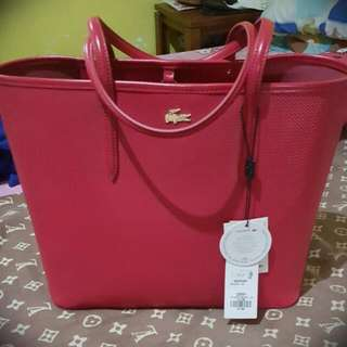 Lacoste Bag Chantoco Leather Bag Red Open Tote