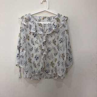 Korean Sheer Floral Frilly Blouse