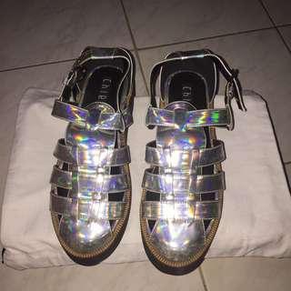 chiels hologram platform sandals