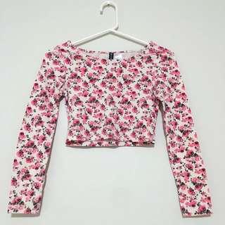 Long Sleeve Floral Crop Top