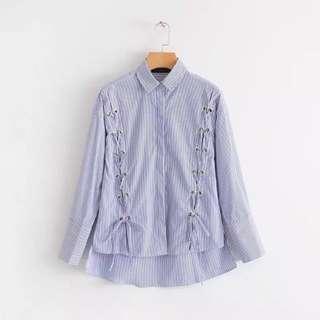 歐美 zara風春綁帶長袖不規則寬鬆條紋襯衫女打底衫潮