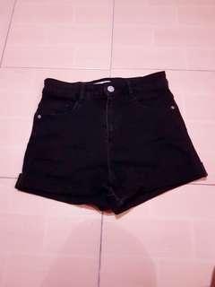 Zara black denim hw short