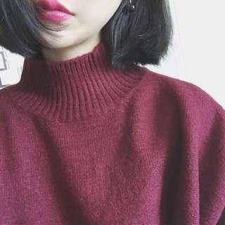 酒紅色立領毛衣