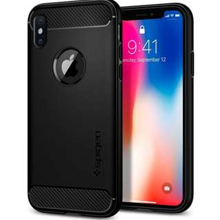 Spigen Rugged Armor Case with Carbon Fiber Design for iPhone X