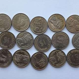 Singapore Merlion $1 Dollar Coin Lot