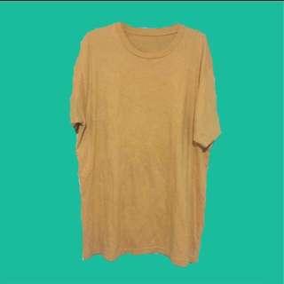 Oversized Mustard T Shirt Dress / Boyfriend Tee