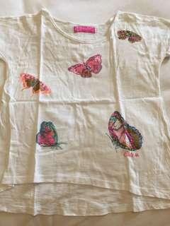 Kaos anak gambar kupu-kupu