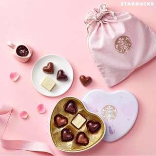 (包順豐站自取) 韓國 Starbucks 2018 V-DAY Lovely Heart 限量朱古力連盒連索繩袋 (6粒裝)