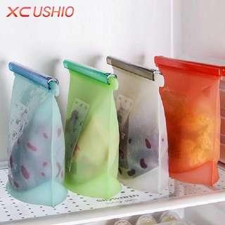Home Food Grade Silicone Fresh Bags Kitchen Food Sealing Storage Bag Kitchen Organizer Gadget Cooking Tools Supplies