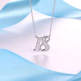 18K鑽石數字頸鏈