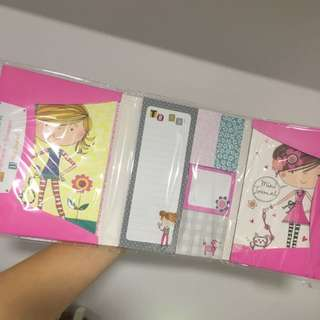 post-it pack with mini note book and postcards