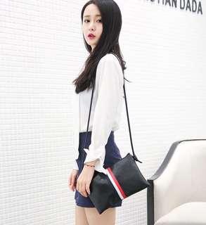 Mono-coloured Stripes Designed Leather Slingbag