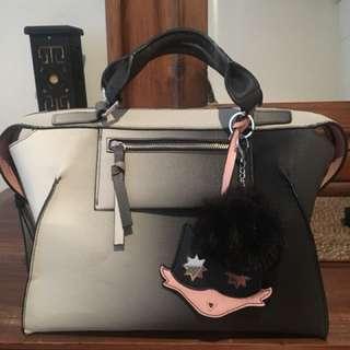 ZARA bag (with the monster keychain + fur ball)