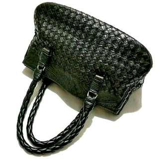 BOTTEGA VENETA  Vintage Intrecciato Mini Tote Bag  Embossed CHOCOLATE Calf Leather 145702 14cm × 33cm × 17cm