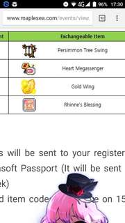 Maplesea gold wing code form (all worlds)