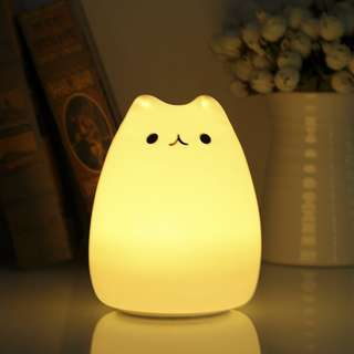 7 Colors Changing Silicone Cat Kitten Night Light Rechargeable LED Bedside Lamp