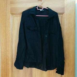 H&M black loose blouse