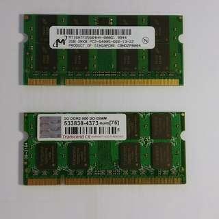 4GB DDR2 800Mhz SODIMM Notebook RAM 手提電腦記憶體(2GB × 2)