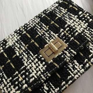Tweed chain sling bag